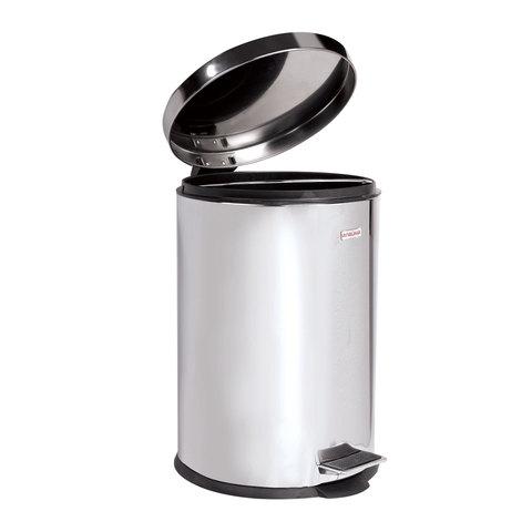 """Ведро-контейнер для мусора (урна) с педалью ЛАЙМА """"Classic"""", 12 л, зеркальное, нержавеющая сталь, со съемным внутренним ведром"""