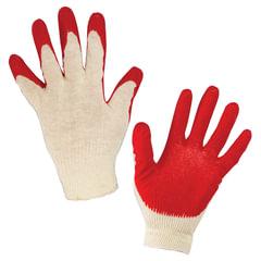 Перчатки хлопчатобумажные 13 класс, 36-38 г, 100 текс, одинарный латексный облив, комплект 5 пар, ЛАЙМА ЛЮКС