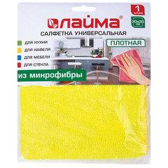 Салфетка универсальная, плотная микрофибра, 30х30 см, ассорти (желтая, зеленая, розовая), ЛАЙМА