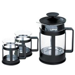 """Набор ЛАЙМА """"Утро"""", френч-пресс 800 мл + 2 стакана 200 мл, жаропрочное стекло/пластик, черный"""