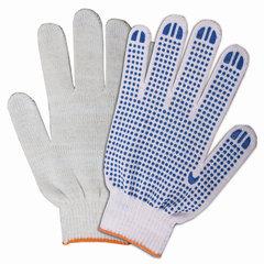 Перчатки хлопчатобумажные ЛАЙМА БЮДЖЕТ, комплект 200 пар, ПВХ-точка, 10 класс, 32-34 г, 83 текс, белые