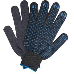 Перчатки хлопчатобумажные 10 класс, 40-42 г, 116 текс, ПВХ-точка, комплект 5 пар, ЛАЙМА ЛЮКС, черные
