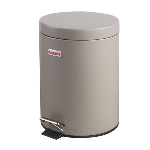 """Ведро-контейнер для мусора (урна) с педалью ЛАЙМА """"Classic"""", 5 л, серое, матовое, металл, со съемным внутренним ведром"""