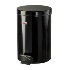 """Ведро-контейнер для мусора (урна) с педалью ЛАЙМА """"Classic"""", 12 л, черное, глянцевое, металл"""
