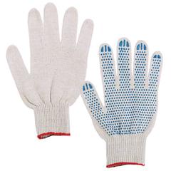 Перчатки хлопчатобумажные 7,5 класс, 46-48 г, 166 текс, ПВХ-точка, комплект 5 пар, ЛАЙМА, ГОСТ, 4 нити, белые