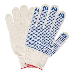 Перчатки хлопчатобумажные 10 класс, 40-42 г, 116 текс, ПВХ-точка, комплект 5 пар, ЛАЙМА ЛЮКС, белые