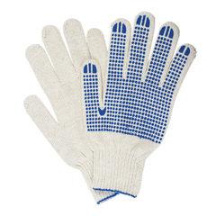 Перчатки хлопчатобумажные 7 класс, 65-67 г, 216 текс, ПВХ-точка, комплект 5 пар, ЛАЙМА ПРОФИ XL, белые