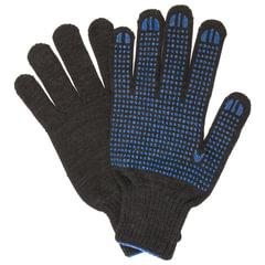 Перчатки хлопчатобумажные 7 класс, 65-67 г, 216 текс, ПВХ-точка, комплект 5 пар, ЛАЙМА ПРОФИ XL, черные