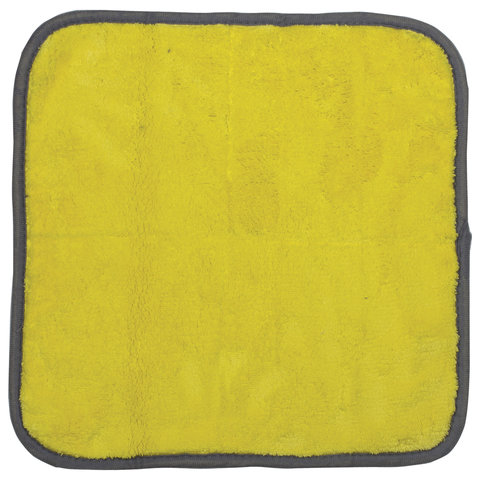 Салфетка универсальная двусторонняя, плотная микрофибра (плюш), 35х35 см, желтая/серая, ЛАЙМА
