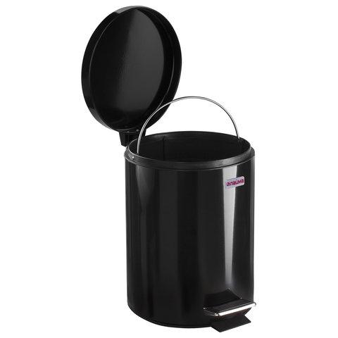 """Ведро-контейнер для мусора (урна) с педалью ЛАЙМА """"Classic"""", 5 л, черное, глянцевое, металл, со съемным внутренним ведром"""