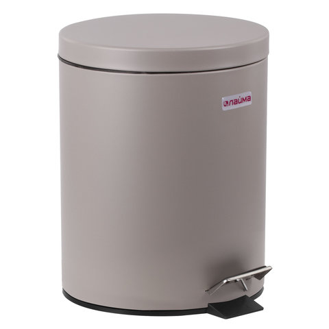 """Ведро-контейнер для мусора (урна) с педалью ЛАЙМА """"Classic"""", 12 л, серое, матовое, металл"""