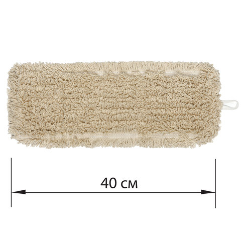 Насадка МОП плоская для швабры/держателя 40 см, У/К (уши/карманы), нашивной хлопок, ЛАЙМА EXPERT