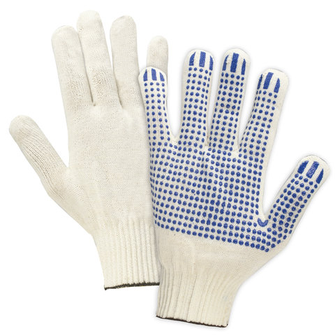 Перчатки хлопчатобумажные 13 класс, 36-38 г, 66 текс, ПВХ-точка, комплект 5 пар, ЛАЙМА ПРОФИ, белые